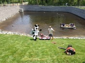 chick-fil-a pond, ashland, virginia, pond created by retaining wall