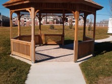 Gazebo with concrete patio pavers