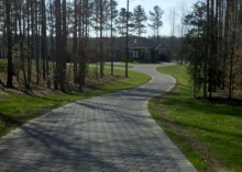 Residential driveway with permeable pavers